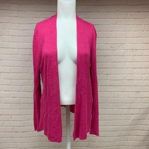Eileen Fisher Hot Pink 100% Linen Open Cardigan